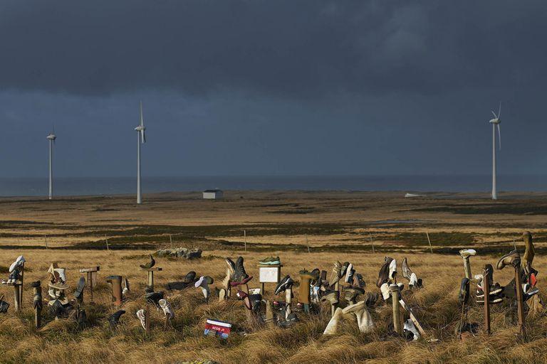 Restos del último combate en Monte Longdon, en las islas Malvinas