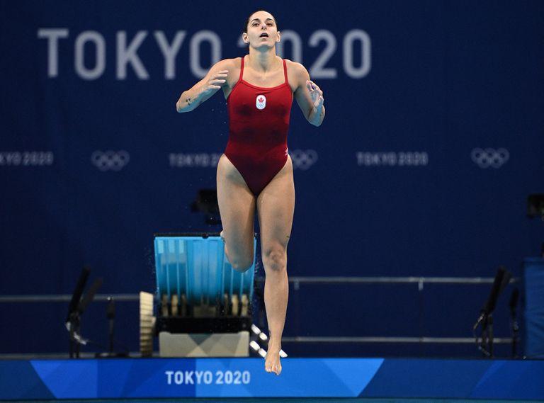 La canadiense Pamela Ware realizó una inmersión fallida, durante la semifinal de salto de trampolín de 3 m femenino.