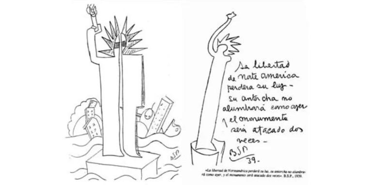 """El impactante dibujo de Benjamín Solari Parravicini, conocido como """"el Nostradamus argentino"""", en el que predijo el atentado a las Torres Gemelas."""