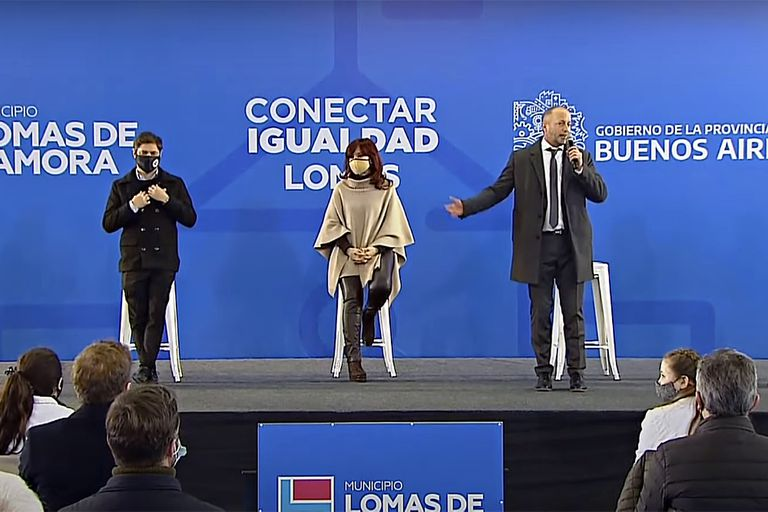 Axel Kicillof, Cristina Kirchner y Martín Insaurralde, en Lomas de Zamora