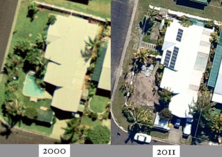 El antes y el después de la piscina, destapada y enterrada, según las imágenes satelitales