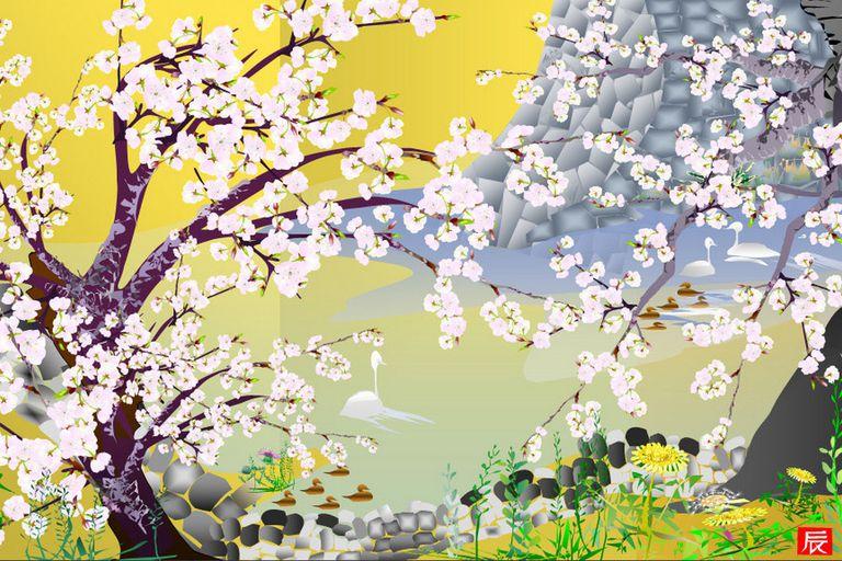 Cherry Blossoms at Jogo Castle, la obra de Horiuchi que fue premiada en el concurso de obras creadas con Excel en 2006
