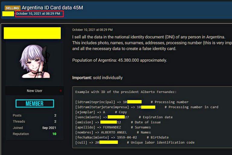 Captura que muestra la base de datos del RENAPER a la venta