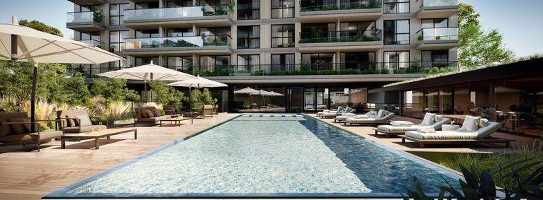 Los dos edificios estarán comunicados por un amplio jardín central parquizado, donde estarán los amenities