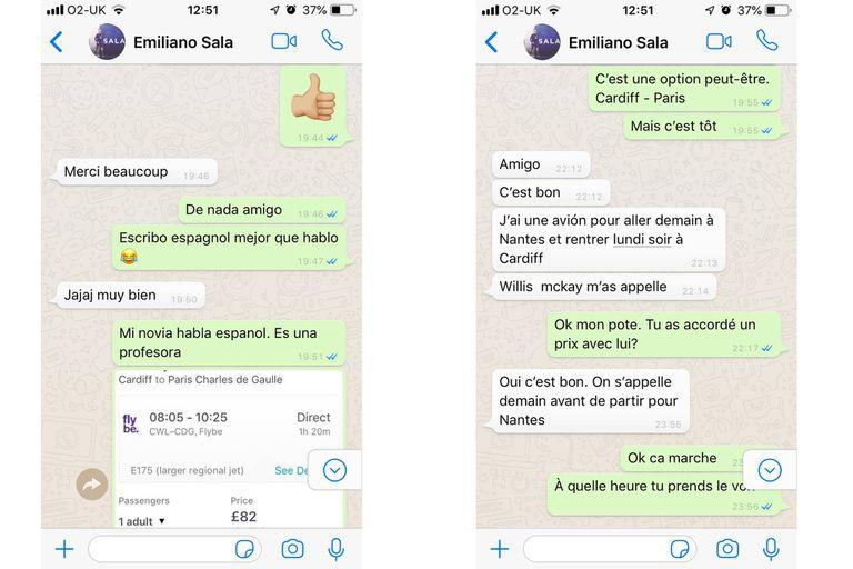 Capturas de pantalla de los chats entre Emiliano Sala y Willie Mckay
