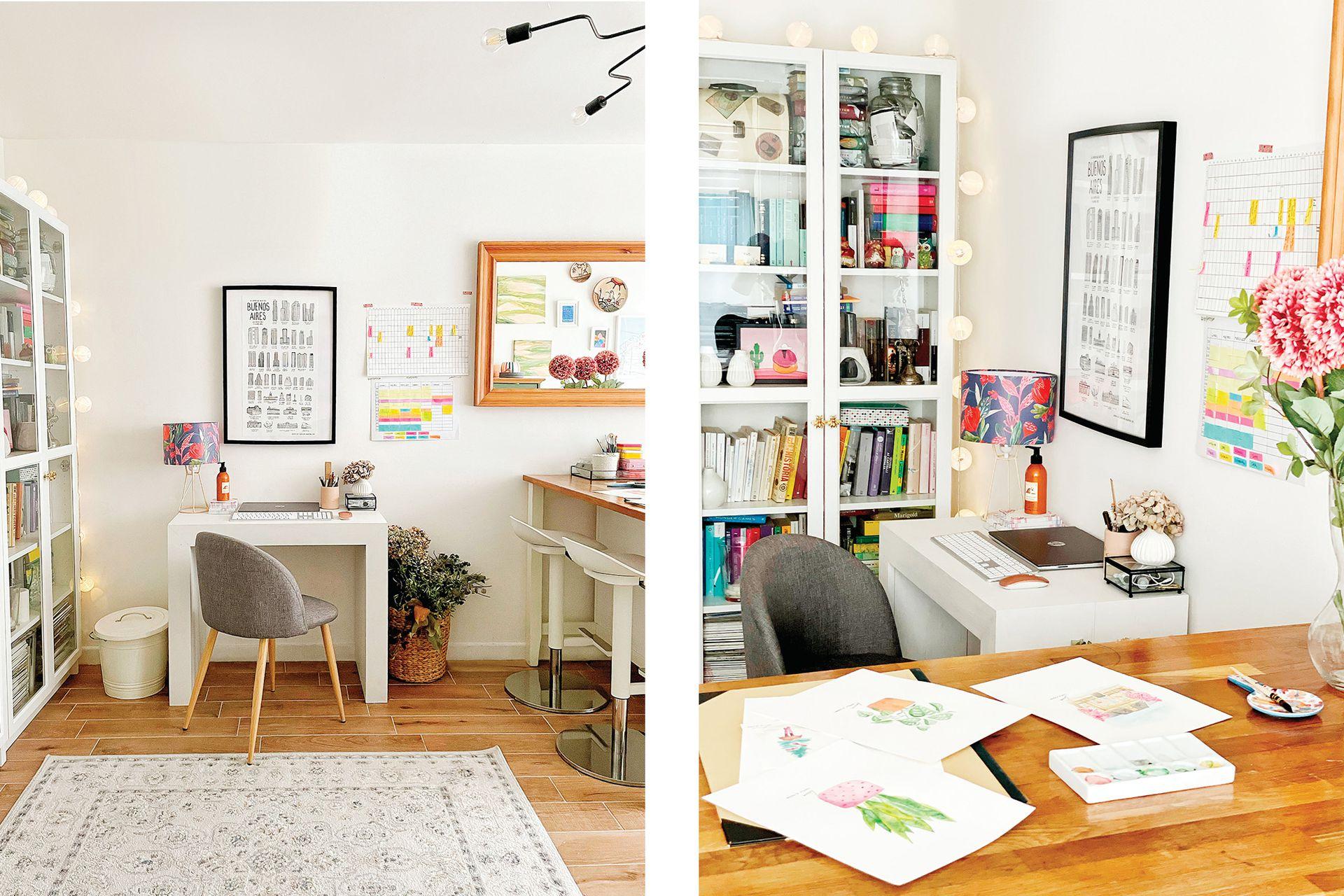 Un escritorio bajo, una mesa alta. Ninguno ocupa demasiado espacio, pero le da ritmo al ambiente y permite un bienvenido cambio de posición ante tareas distintas.