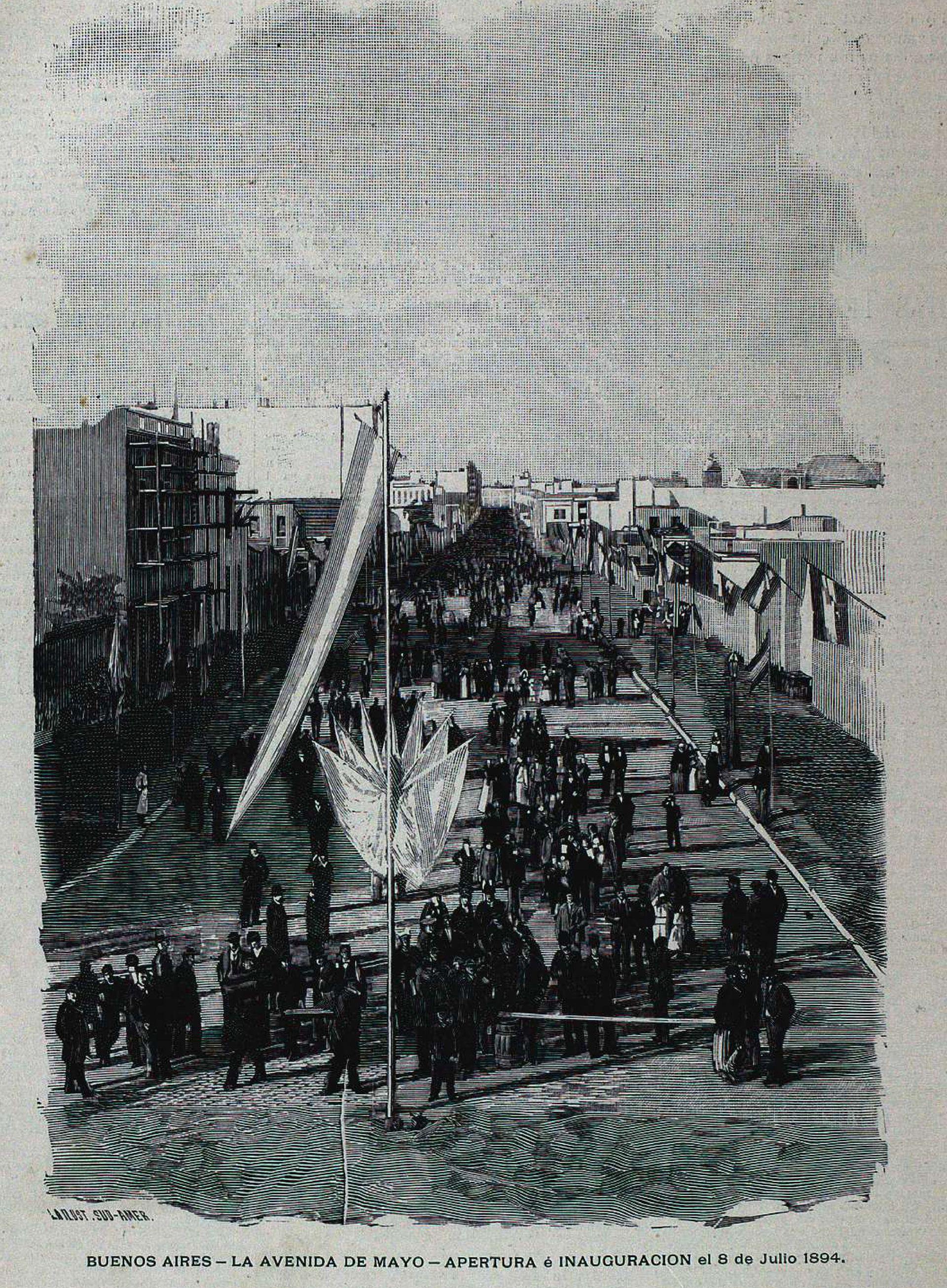 La inauguración de la Avenida de Mayo se celebró en julio de 1894. La calle estaba abierta, pero apenas existían unos pocos edificios, y los servicios públicos eran muy deficientes.
