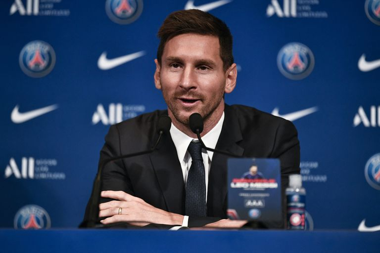 Argentinian football player Lionel Messi speaks to the press as he attends his unveiling press conference at the French football club Paris Saint-Germain's (PSG) Parc des Princes stadium in Paris on August 11, 2021. - The 34-year-old superstar signed a two-year deal with PSG on August 10, 2021, with the option of an additional year, he will wear the number 30 in Paris, the number he had when he began his professional career at Spain's Barca football club. (Photo by STEPHANE DE SAKUTIN / AFP)