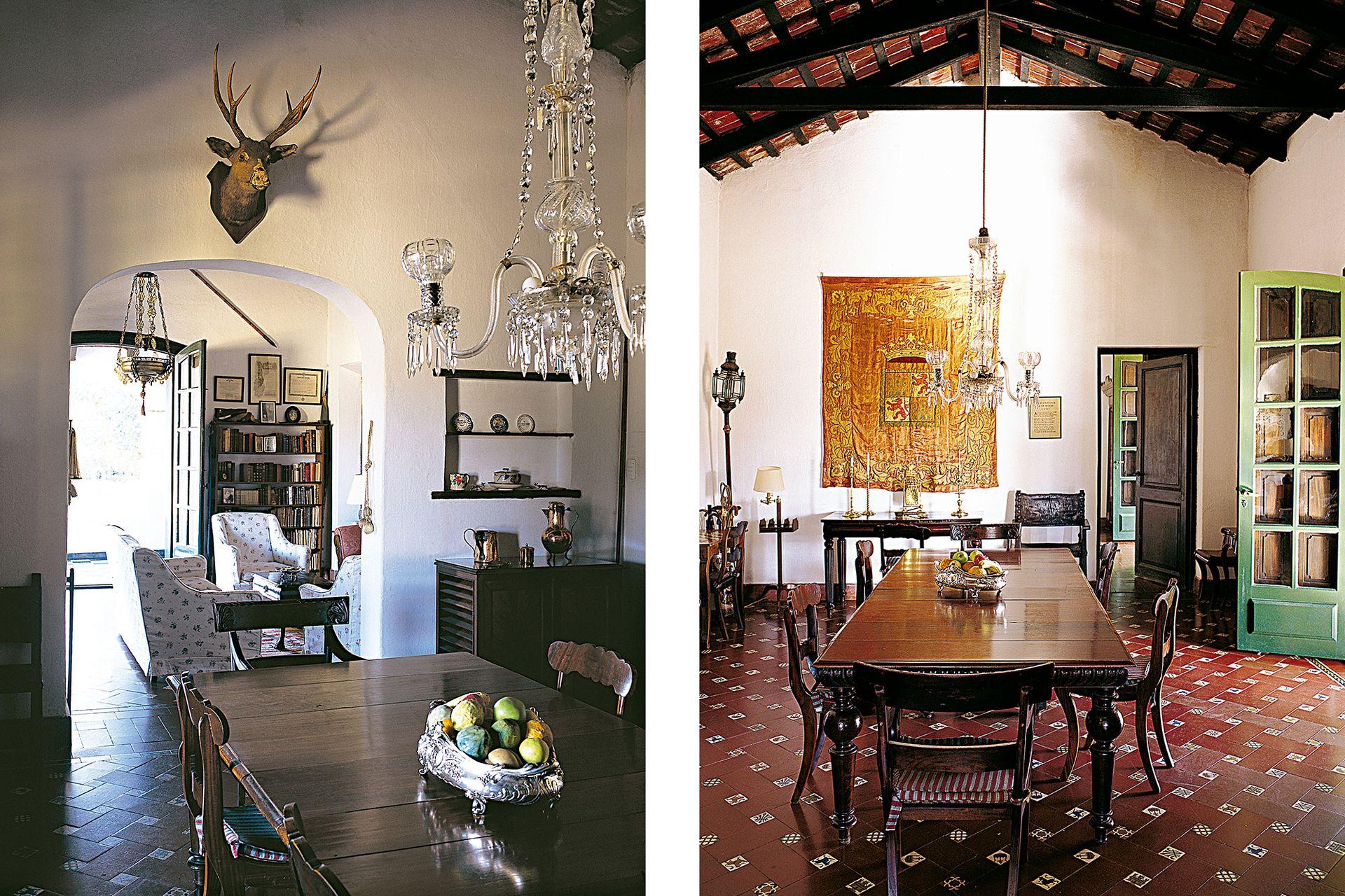 Desde el comedor se accede a uno de los dormitorios, que da a la galería. Sobre la pared cuelga un tapiz de seda español con el escudo de Castilla y León.
