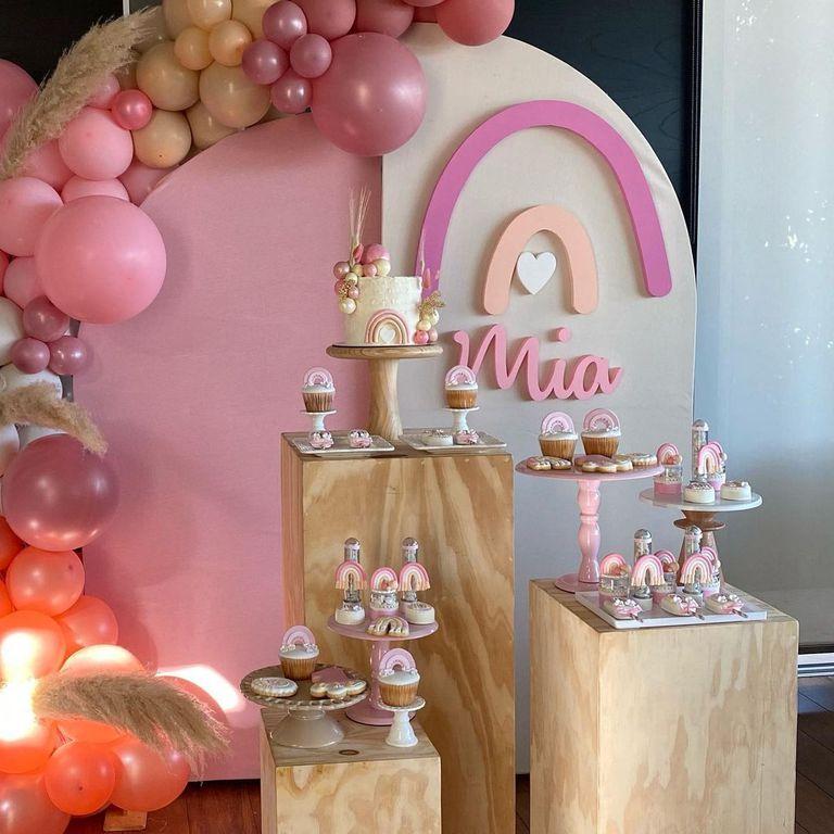 La mesa dulce de la fiesta de Mía Paoloski, la hija menor de Germán Paoloski y Sabrina Garciarena.