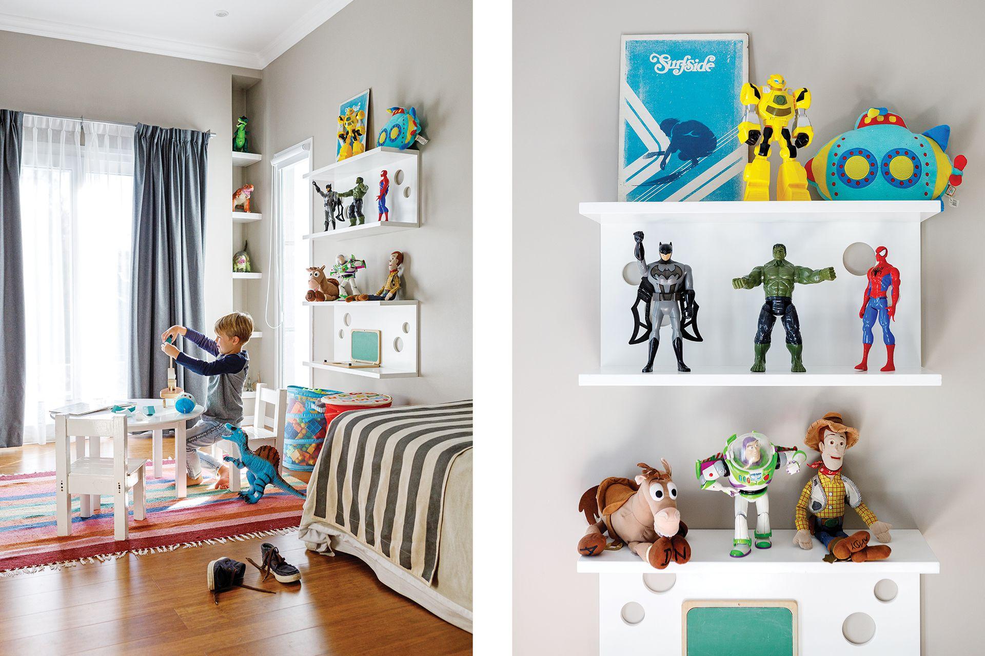 En el cuarto de Federico reutilizaron los muebles de la casa anterior y sumaron estantes diseñados por Cecilia.