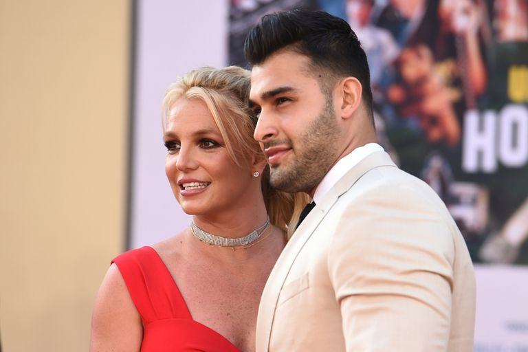 """Britney Spears and Sam Asghari arrive at the Los Angeles premiere of """"Once Upon a Time in Hollywood"""" at the TCL Chinese Theatre on July 22, 2019. (Photo by Jordan Strauss/Invision/AP)"""