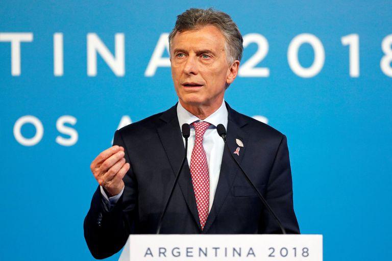 El Presidente de Argentina gesticula durante su discruso ante los líderes del G20