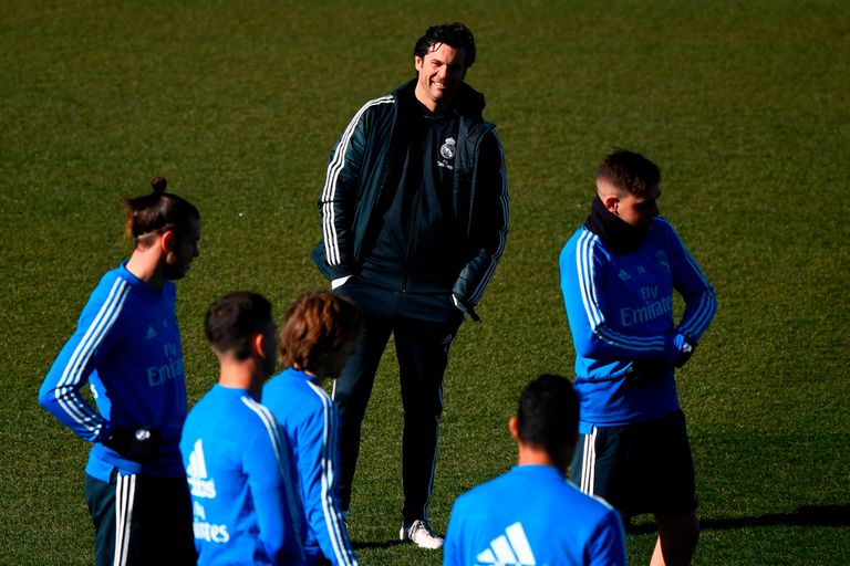 Santiago Solari en el entrenamiento de Real Madrid.
