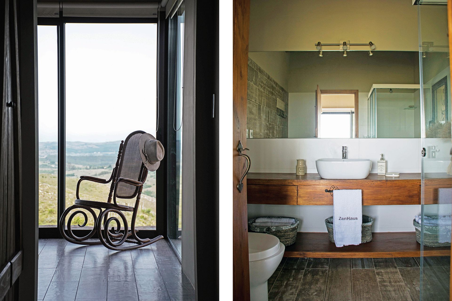 En el baño, el espejo refleja la luz natural que llega desde el ambiente contiguo.