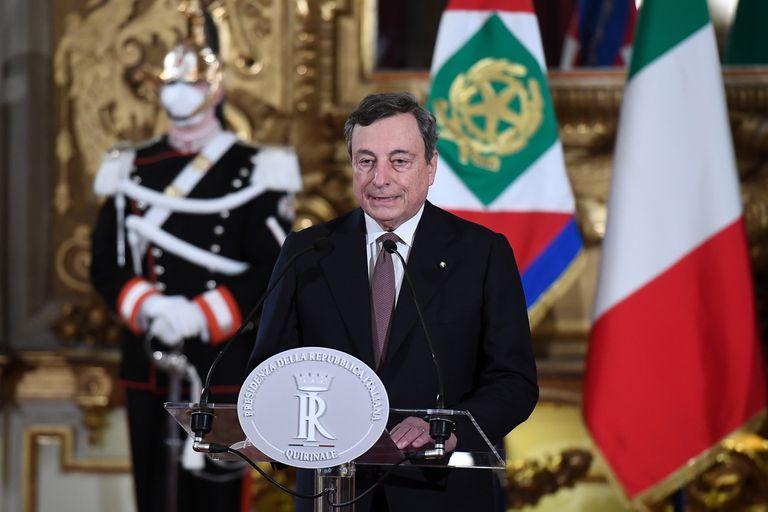 El primer ministro designado de Italia, Mario Draghi, después de asumir