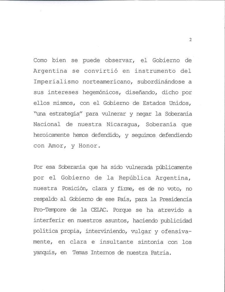 La carta de Nicaragua que rechaza el apoyo a la Argentina