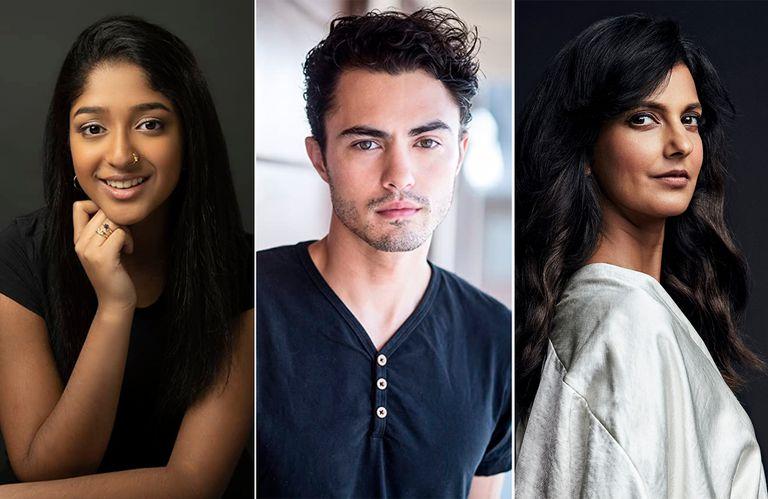 Maitreyi Ramakrishnan, Darren Barnet y Poorna Jagannathan, protagonistas de la serie fenómeno de Netflix, Yo nunca
