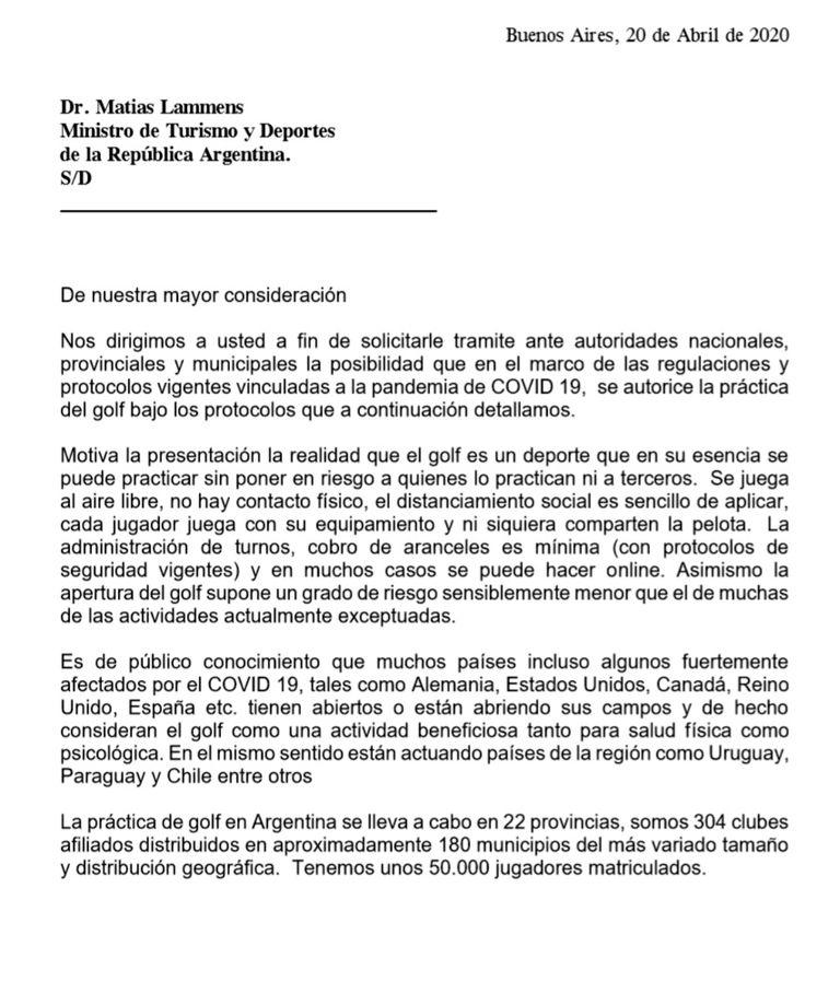 La carta de la AAG para Matías Lammens