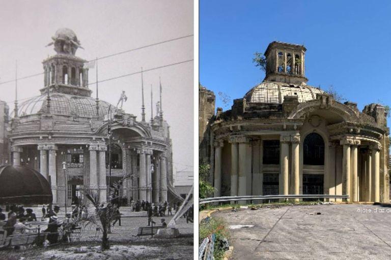 El Pabellón del Centenario, en 1910 y en 2020 en una imagen comparativa que muestra el deterioro producido en ese edificio porteño por el paso del tiempo y la falta de mantenimiento