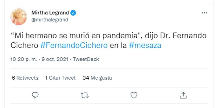 Tajante, el doctor Fernando Cichero dijo que su hermano murió en pandemia