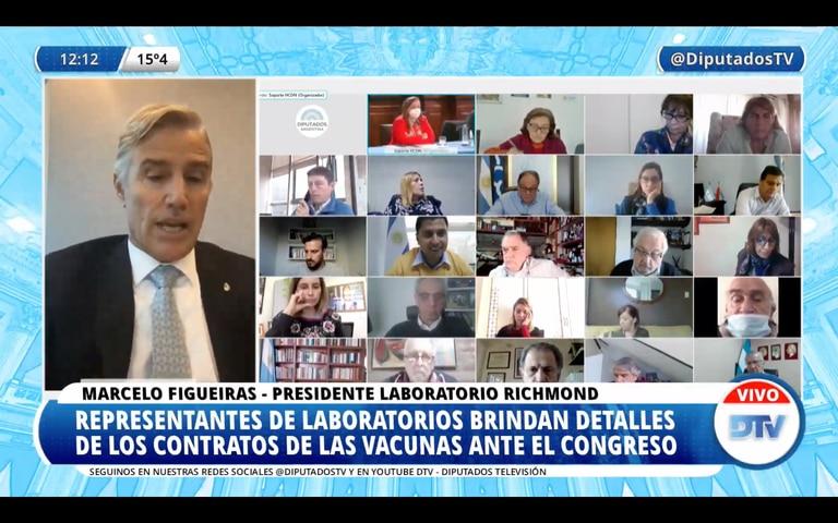 Marcelo Figueiras, presidente del laboratorio Richmond, expone frente a diputados y brinda detalles sobre el contrato para producir Sputnik-V