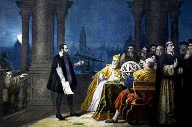 Galileo mostrándole su telescopio al dux (o dogo) de Venecia Leonardo Donato (pintado por H. J. Detouche)