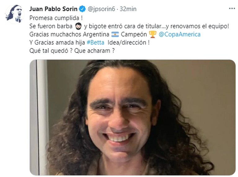 Con este tuit, Sorín mostró cómo luce sin su clásica barba