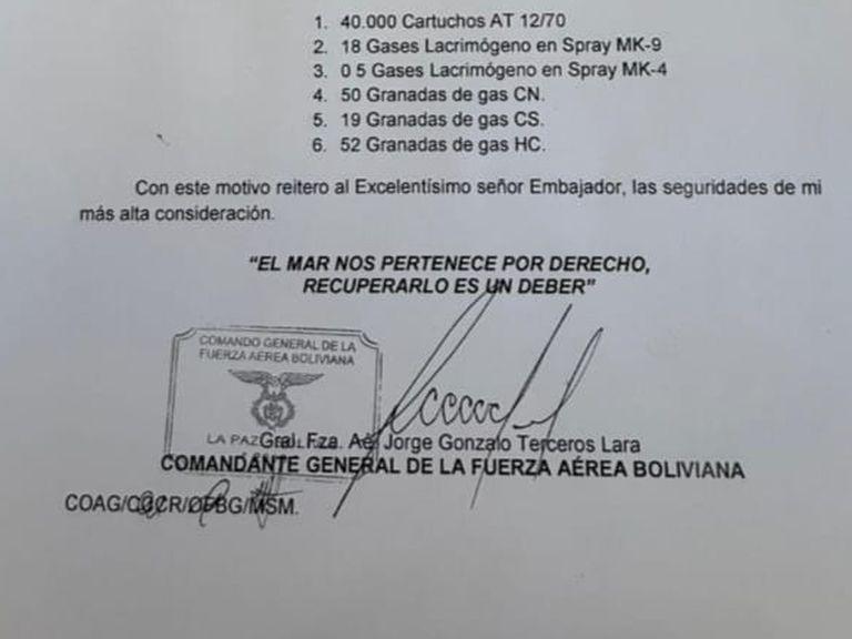 La carta que difundió la Cancillería de Bolivia y en la que se basan sus acusaciones contra el gobierno de Mauricio Macri