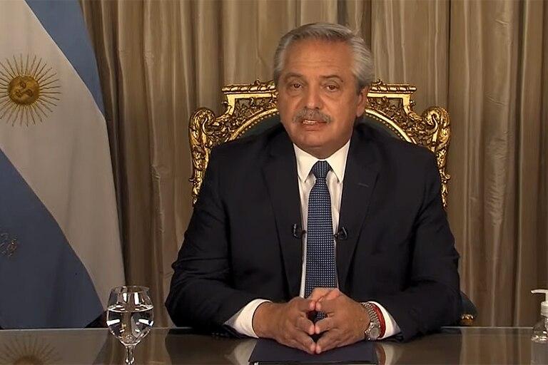 Alberto Fernández en su segunda cadena nacional
