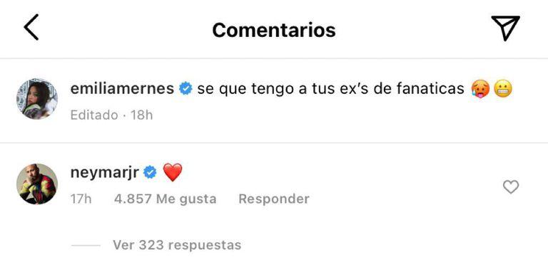 El comentario de Neymar en la foto de Emilia Mernes