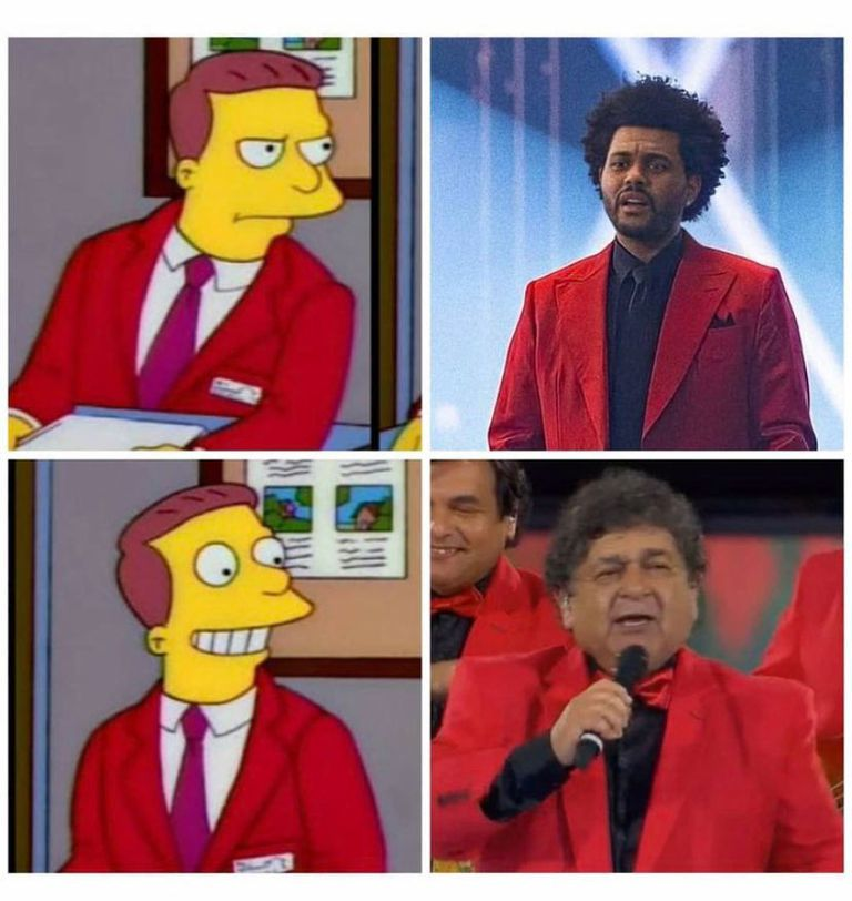 Los usuarios compararon a The Weeknd con el cantante de Los Palmeras, Rubén Deicas, por su particular traje rojo