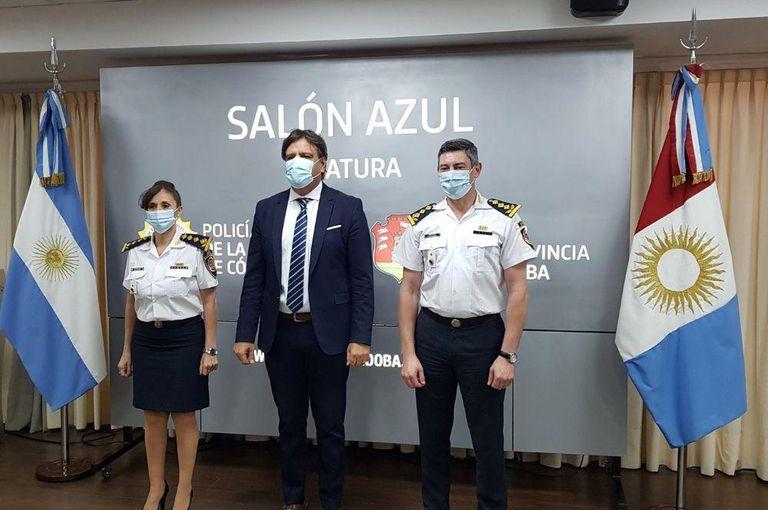 El ministro de Seguridad, Mosquera, junto a Zárate Belletti y a su segundo, Ariel Lecler.
