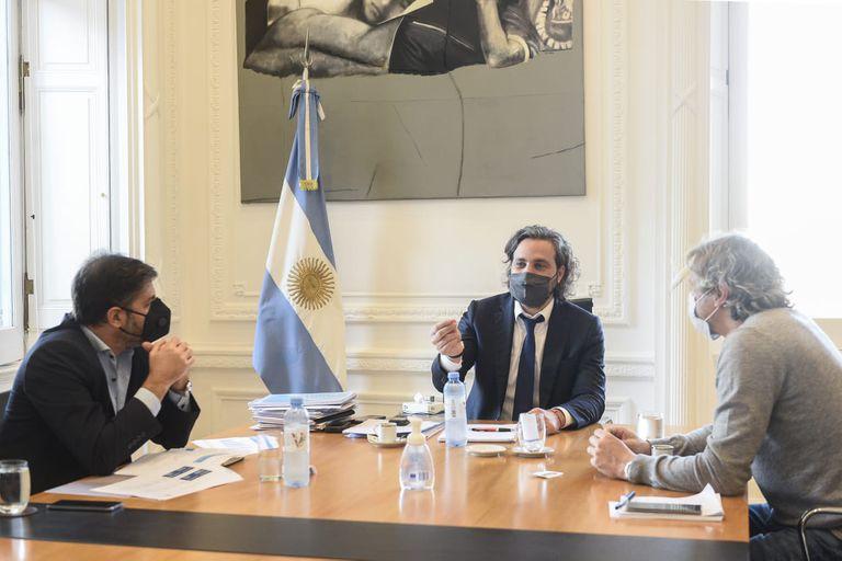 Carlos Bianco, Santiago Cafiero y Felipe Miguel, reunidos para evaluar medidas