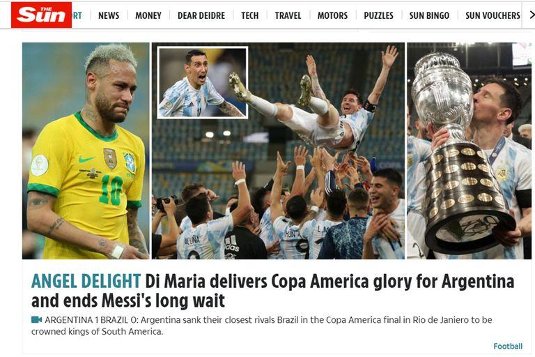 The Sun, entre la tristeza de Neymar y el festejo de Messi