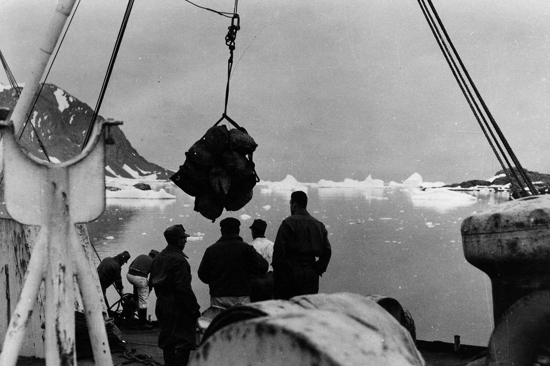 """Construcción de la base Gral. San Martín: """"la base más austral del mundo"""", Bahía Margarita, Antártida Argentina, 1948"""