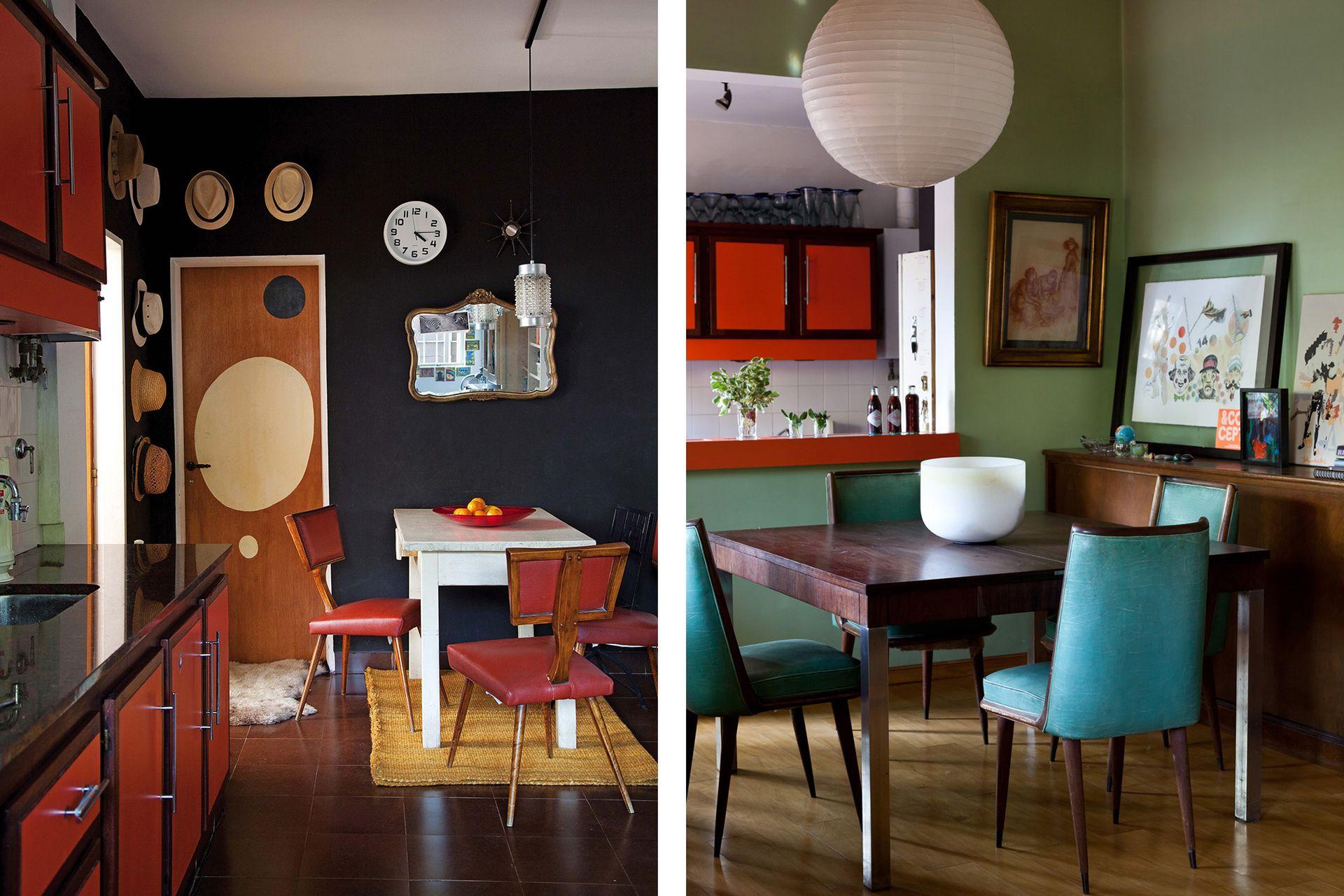 El living está integrado al comedor con vajillero antiguo y sillas años 60 retapizadas. Del otro lado de la barra, la cocina con desayunador. El dibujo de la puerta está inspirado en las formas de Alexander Calder.