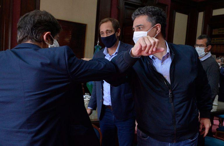 Jorge Macri y Julio Garro junto al gobernador Axel Kicillof