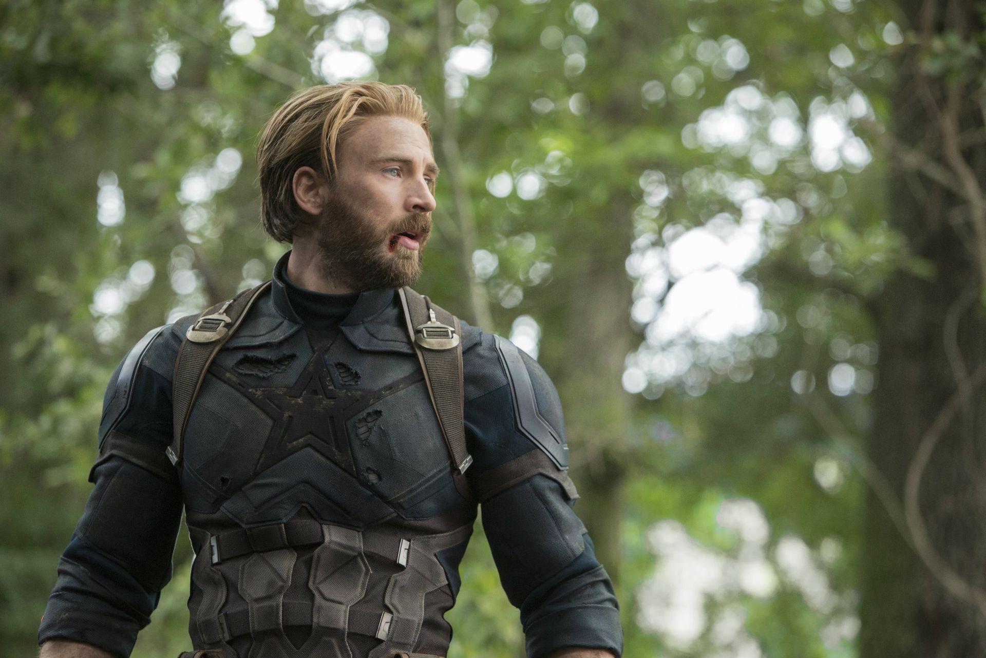 Chris Evans como el Capitán América en Avengers: Infinity War