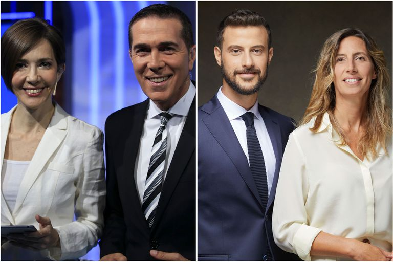 Cristina Pérez y Rodolfo Barili en Telefe Noticias y Diego Leuco y Luciana Geuna en Telenoche, conductores de los noticieros líderes en audiencia