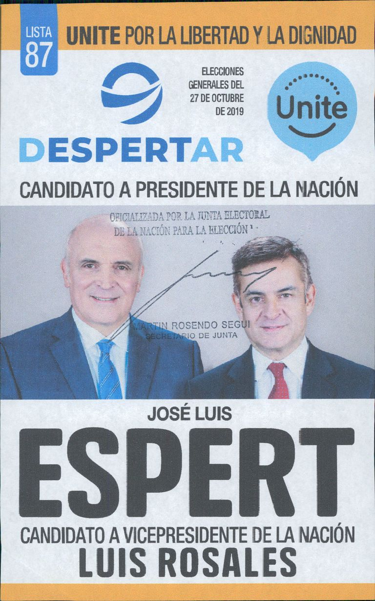José Luis Espert y Luis Rosales, en la boleta del Frente Despertar.
