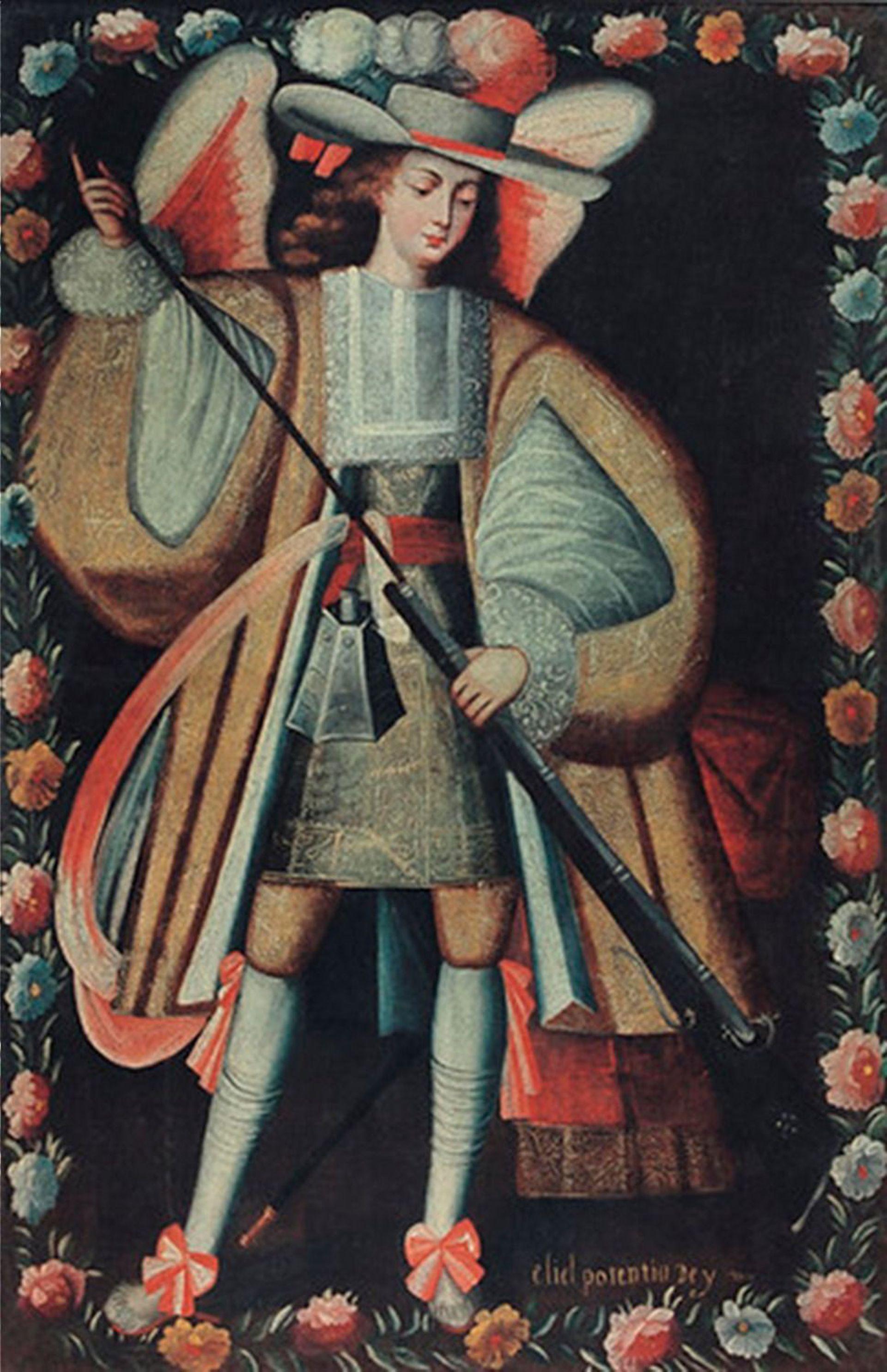 Uno de los nueve ángeles arcabuceros de la iglesia de Uquía cargando su arma.