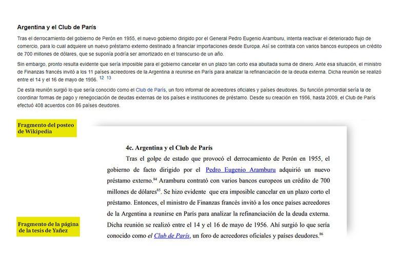 Más fragmentos de Wikipedia que se repiten en la tesis de Fabiola Yañez.