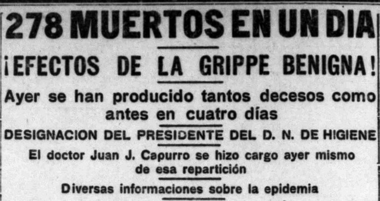 Frente a la información oficial, que calificaba a la gripe como benigna, algunos periódicos como La Argentina, alertaron sobre su gravedad.