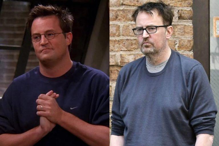 A la izquierda, Matthew Perry en una escena de Friends; a la derecha, el actor caminando por las calles de Nueva York, en 2019