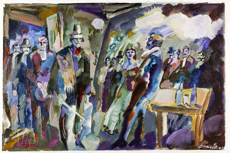 """Una escena del cuento """"Hombre de la esquina rosada"""" pintada por Alberto Breccia en 1993 para una antología visual sobre cuentos de Borges que permanece inédita"""