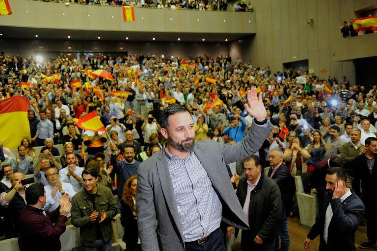 Santiago Abascal, líder de Vox, durante un acto en La Coruña
