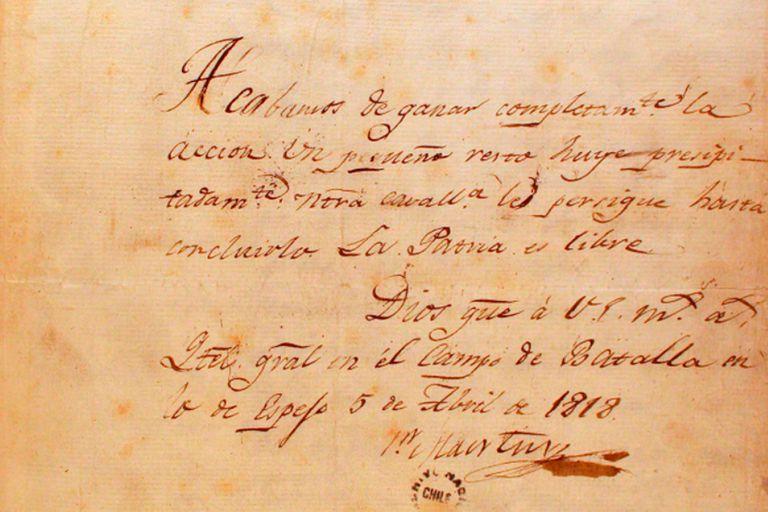 Manuscrito de una carta que San Martín dirigió a Bernardo OHiggins por la Batalla de Maipú