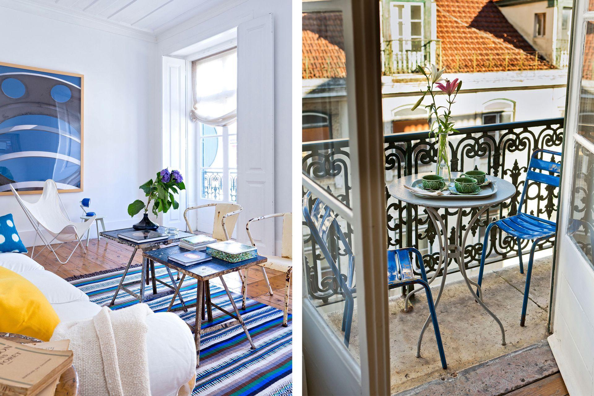 ¿Entran una mesa y dos sillas plegables? A ponerlas afuera, protegidas con pintura para exteriores de un color bien elegido.