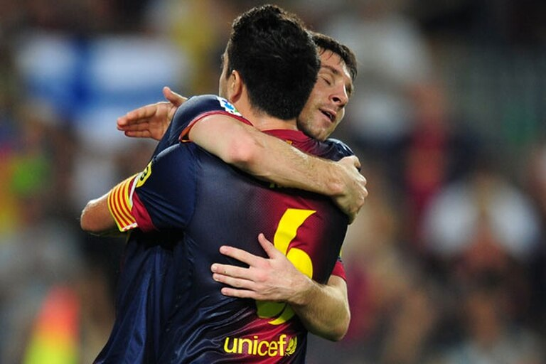 El abrazo de Leo, con xavi